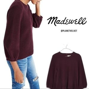 Madewell shirred-sleeve pullover burgundy top